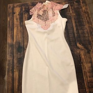 White and pink lace pencil dress